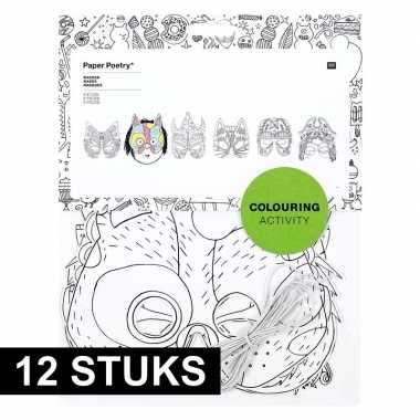 12x knutsel papieren maskers om in te kleuren voor kinderen