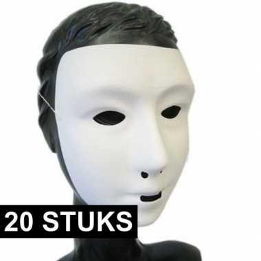 20x feest grimeer masker wit