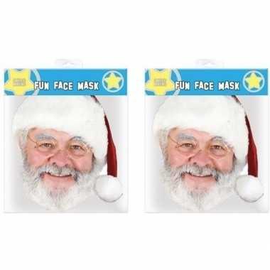 2x kerstman gezichtsmasker