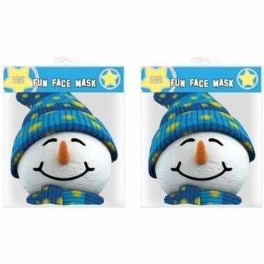 2x sneeuwpop gezichtsmaskers