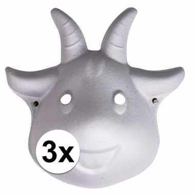 3x dierenmasker geit met elastiek