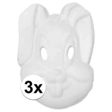 3x papier mache knutsel masker konijn haas