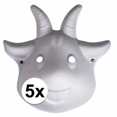 5x dierenmasker geit met elastiek