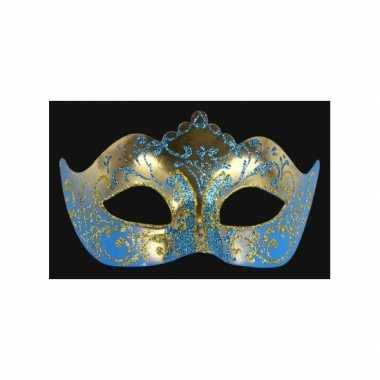 Barok oogmasker goud en blauw handgemaakt
