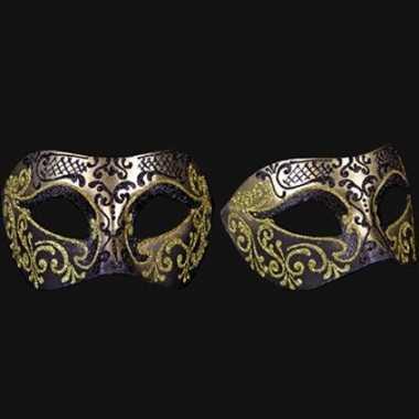 Barok oogmasker goud en zwart handgemaakt