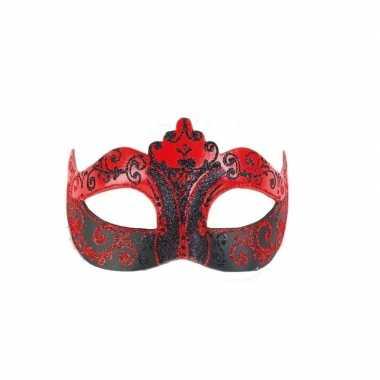 Barok oogmasker rood met zwart handgemaakt