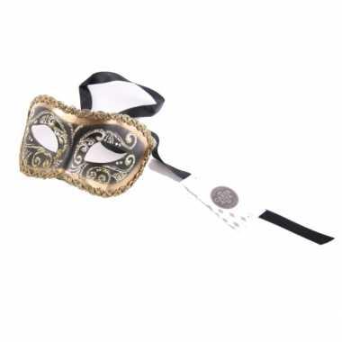 Barok oogmasker zwart en goud handgemaakt