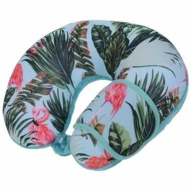 Blauw nekkussen reiskussen en slaapmasker flamingos