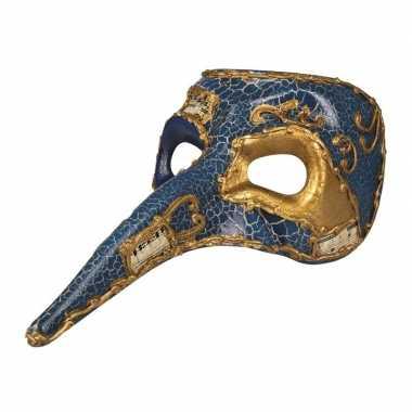 Blauw venetiaans snavel masker voor heren
