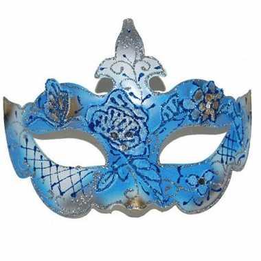 Gemaskerd bal blauw/gouden oogmasker