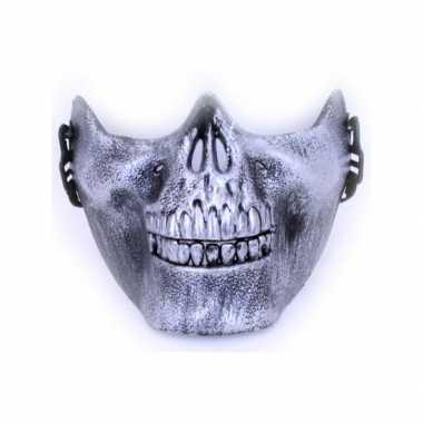 Goedkoop half masker zilveren schedel