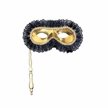 Gouden masker met handvat