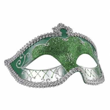 Groen/zilver oogmasker met glitters voor dames