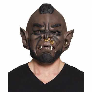 Halloween - bruin ork/goblin halloween masker van latex