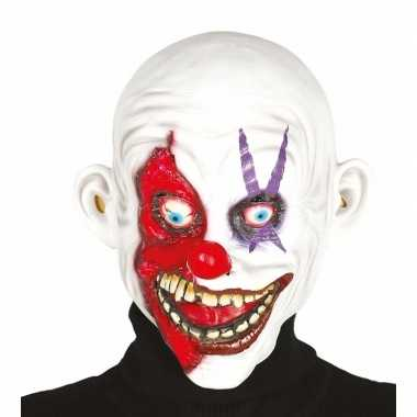 Halloween masker horror clown met kaal hoofd
