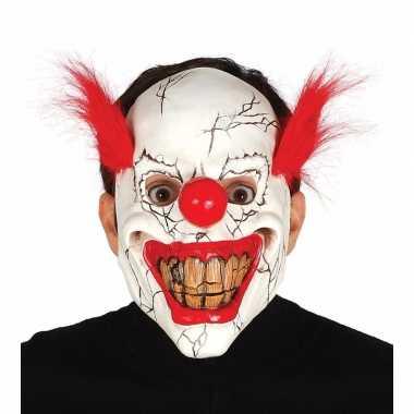 Halloween masker horror clown met rood haar