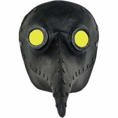 Halloween - venetiaans zwart gezichtsmasker pestdokter/pestmeester