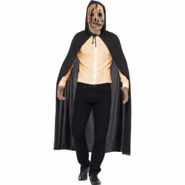 Halloween verkleed cape met zombie rits masker