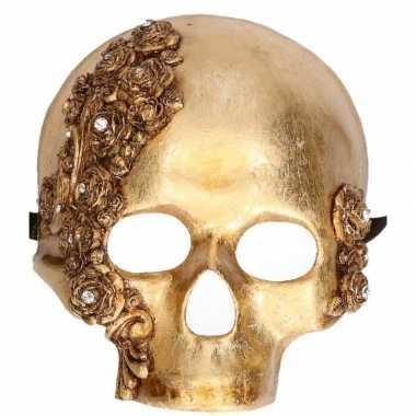Handgemaakt decoratie masker gouden schedel for Decoratie schedel