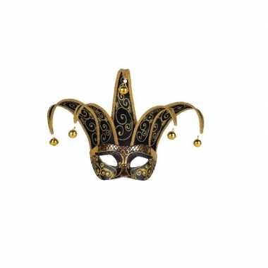 Handgemaakt decoratie masker zwart goud