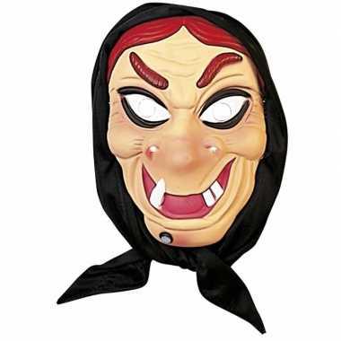 Heksen masker rood haar met hoofddoek