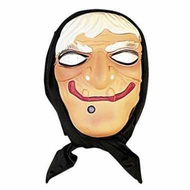 Heksen masker wit haar met hoofddoek
