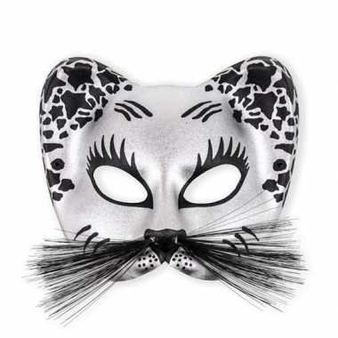 Kunstof oogmasker in zilver kleur
