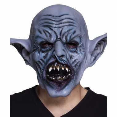 Latex blauw ork monster hoofdmasker voor volwassenen