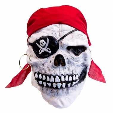 Latex horror masker doodskop-piraat