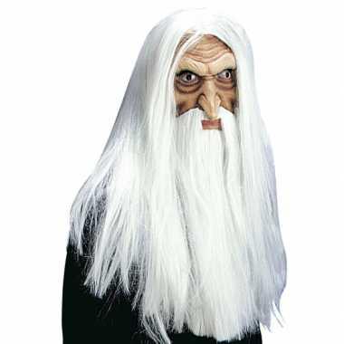 Luxe tovenaarsmasker met pruik, snor en baard