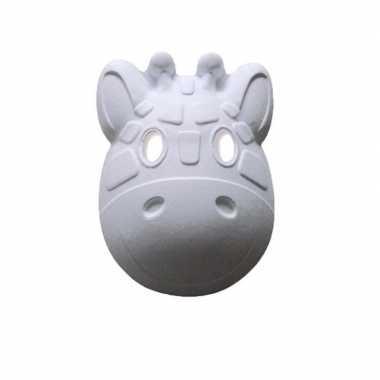 Papieren masker giraffe wit