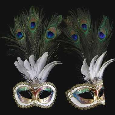 Pauw veren oogmasker handgemaakt
