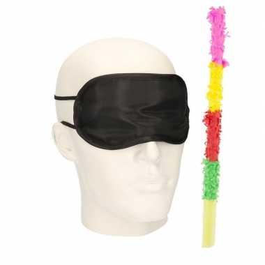 Pinata oogmasker/blinddoek met gekleurde pinata stok