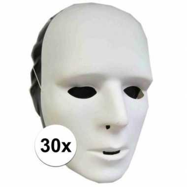 Plastic grimeer maskers 30 stuks
