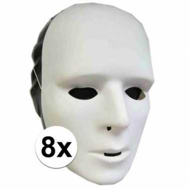 Plastic grimeer maskers 8 stuks