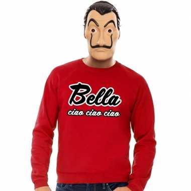 Rode bella ciao sweater met la casa de papel masker heren