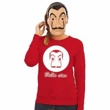 Rode salvador dali sweater met la casa de papel masker dames