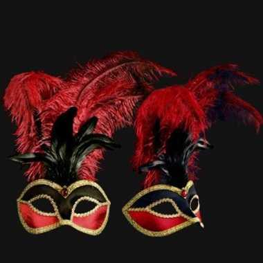 Rood met zwart veren oogmasker met fluweel handgemaakt