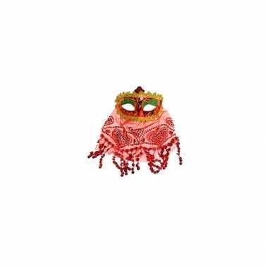 Rood oogmasker met glitters