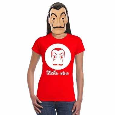 Rood salvador dali t-shirt met la casa de papel masker dames