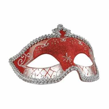 Rood/zilver oogmasker met glitters voor dames