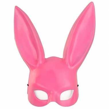 Roze konijnen/hazen masker voor volwassenen