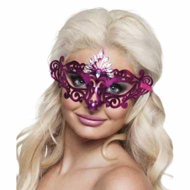 Roze oogmasker met diamanten voor dames