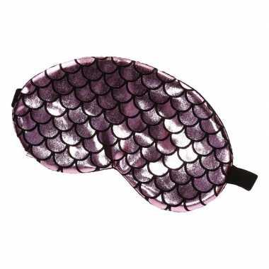 Slaapmasker/oogmasker zeemeermin roze/zwart voor volwassenen