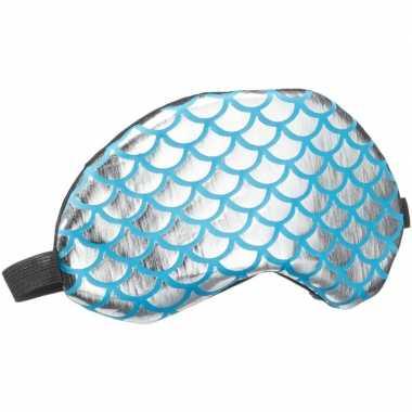Slaapmasker/oogmasker zeemeermin zilver/blauw voor volwassenen