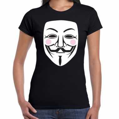 V for vendetta masker t-shirt zwart voor dames