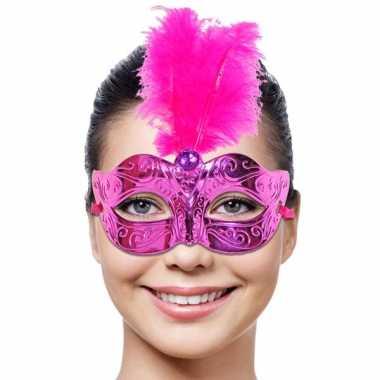 Venetiaans masker met roze veer