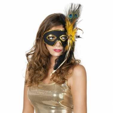 Venetiaans oogmasker zwart met pauwenveren