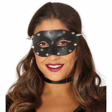 Venetiaans zwart oogmasker met studs voor dames