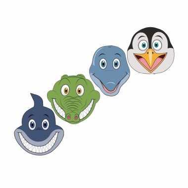 Waterdieren maskers van karton